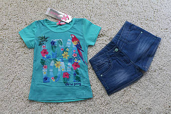 Костюм для девочки с джинсовыми  шортами Live Love Размер 8 лет
