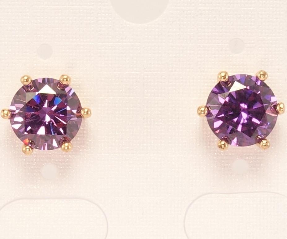 """Серьги XP Позолота 18К гвоздики """"Фиолетовый кристалл в крапановой оправе"""" ø 7мм"""