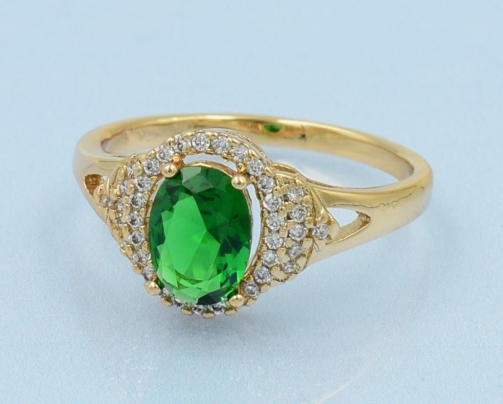 XUPING Кольцо Позолота 18к с зеленым и белыми цирконами Размер 17