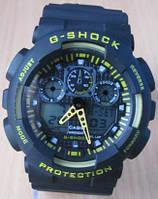 Часы Casio(Касио) G-Shock GA100 черные с желтым   ВОЗМОЖЕН ОПТ