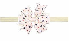 Бежевая детская повязка на голову с принтом якорей - размер универсальный (на резинке), бантик 8см