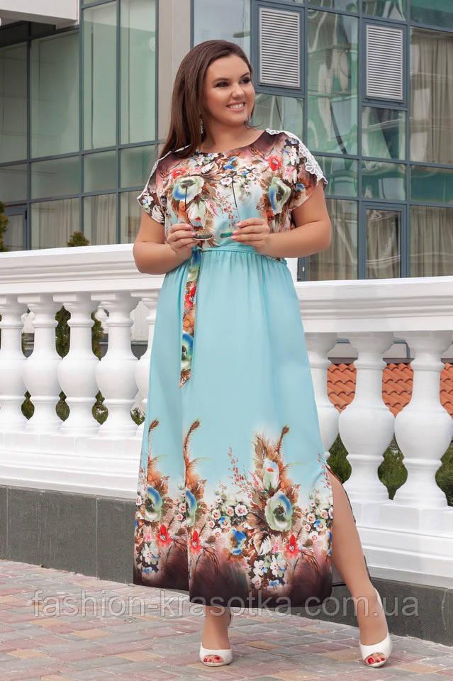 Нарядное женское платье в пол,ткань: шёлк+ кружево,размеры 52,54,56,58.