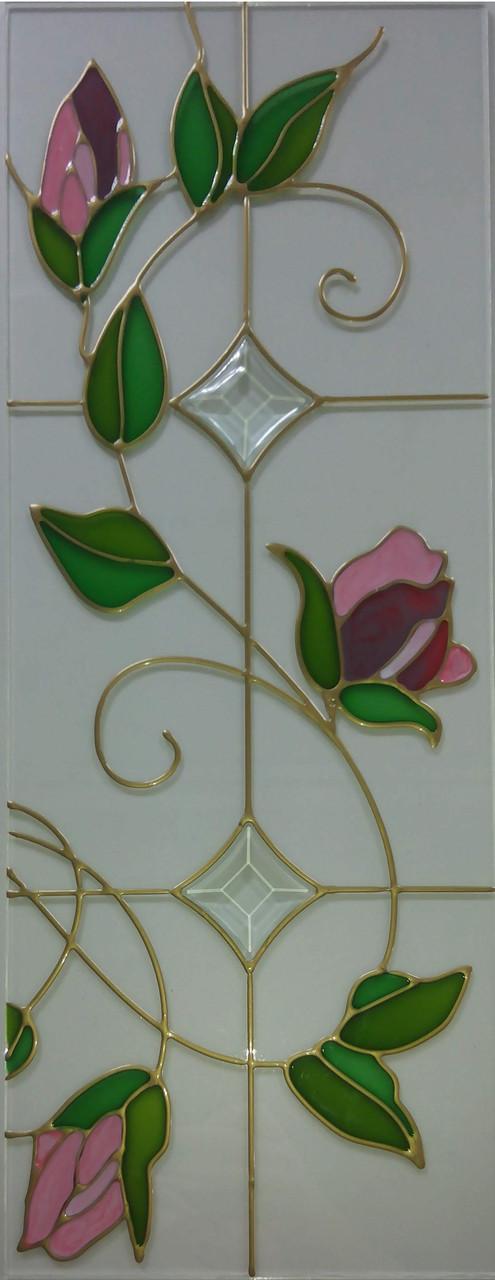 Витраж в кухонный фасад цветок