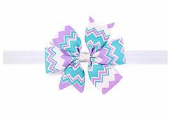 Разноцветная детская повязка на голову - размер универсальный (на резинке), бантик 8см
