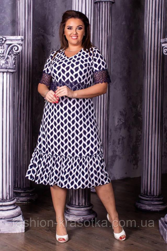 Модное женское платье,ткань масло+ кружево,размеры :50,52,54,56.