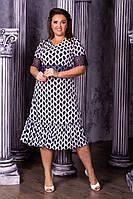 Модное женское платье,ткань масло+ кружево,размеры :50,52,54,56., фото 1