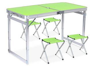 Стол для пикника раскладной со 4 стульями 120х60х55(70) см 3 режима высоты (Усиленный) Green (13311)