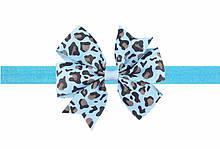 Леопардова блакитна дитяча пов'язка - розмір універсальний (на резинці), бантик 8см