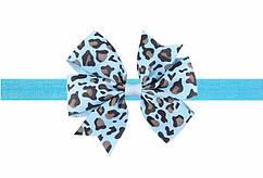 Леопардовая голубая детская повязка - размер универсальный (на резинке), бантик 8см