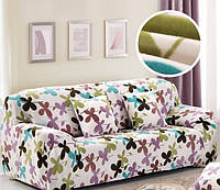 Чехол на диван HomyTex универсальный эластичный замш 3-х местный, Кленовый лист