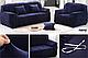 Чохол на диван HomyTex універсальний еластичний замш 3-х місний, Квадрати, фото 5
