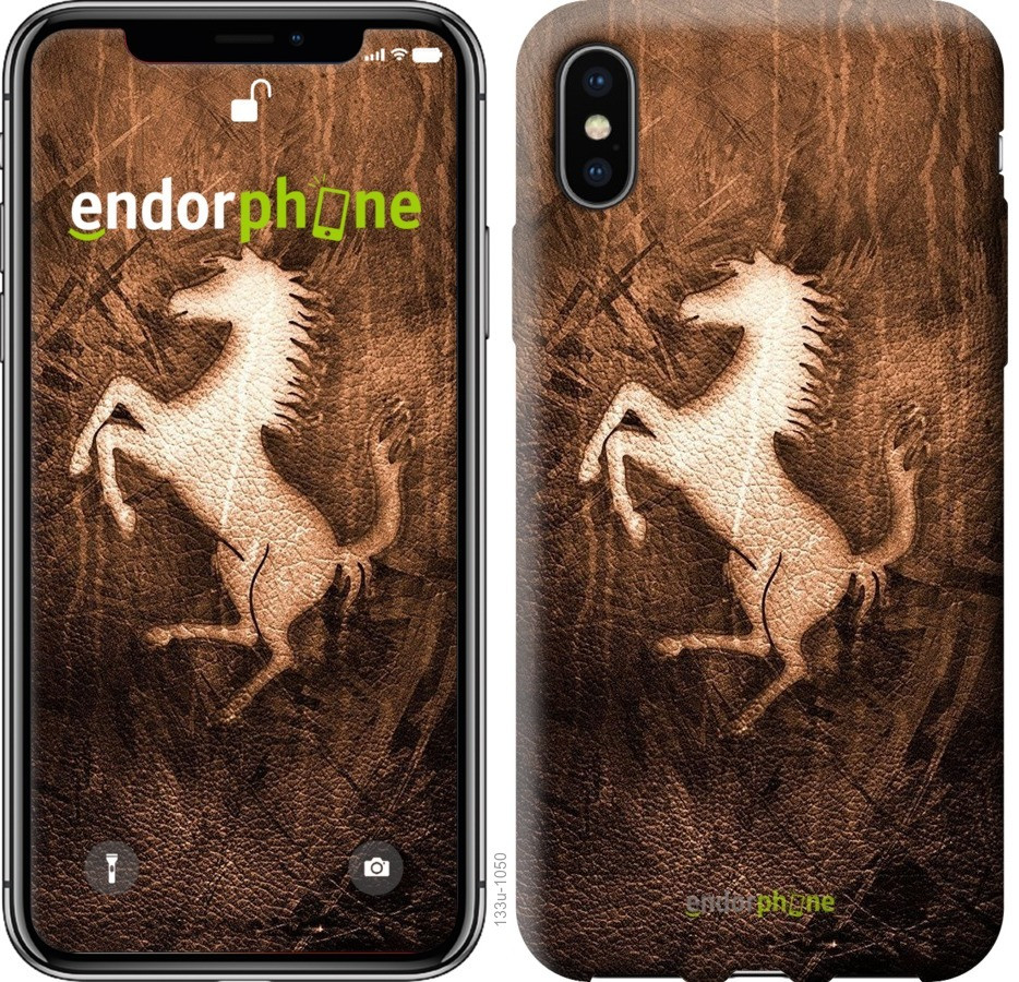 Чехол на iPhone XS Логотип Феррари на коже
