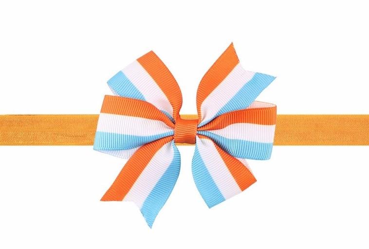 Разноцветная детская повязка на голову для ребенка - размер универсальный (на резинке), бантик 8см