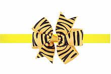 Жовта дитяча пов'язка з принтом зебри - розмір універсальний (на резинці), бантик 8см