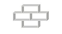 Полка на стену двухуровневая Белый премиум 1034х1100х250мм