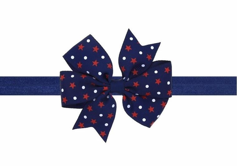 Детская синяя повязка на голову с принтом звёзд - размер универсальный (на резинке), бантик 8см