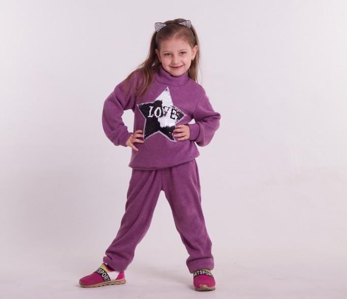 Детский прогулочный костюм из трикотажа для девочкиСпортивный костюм на девочку