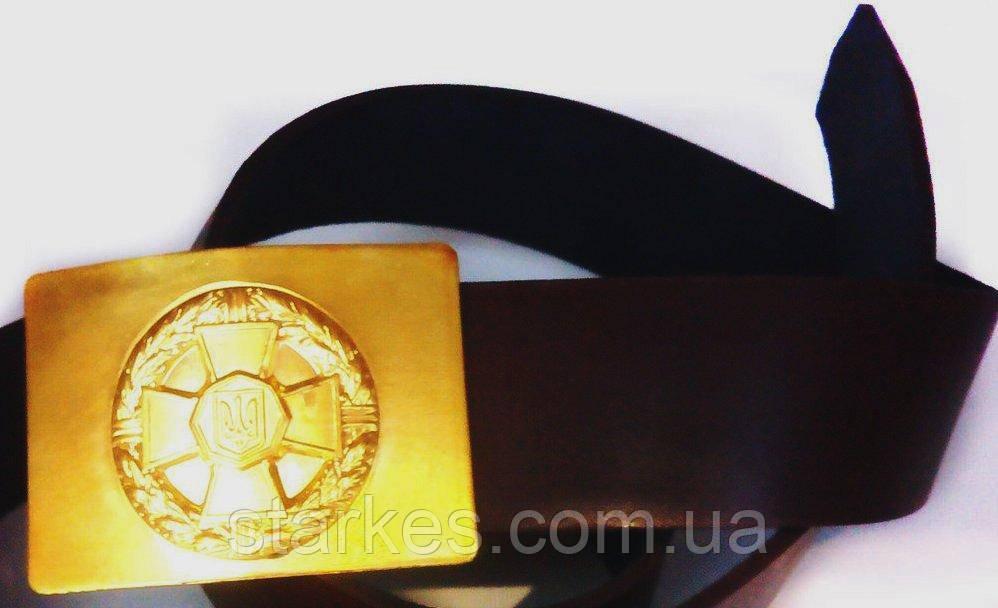 Ремень кожа форменный с бляхой латунь,130 см, для Нацгвардии