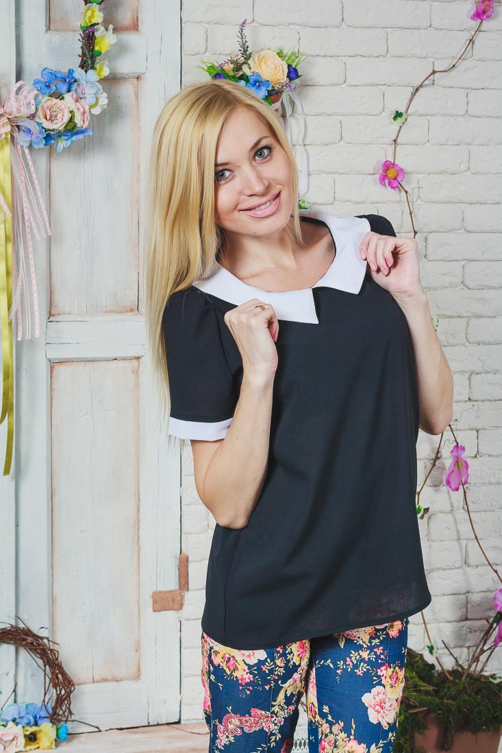 Блуза женская шифон черная