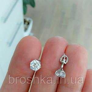 Серебряные серьги гвоздики с камнями и винтовой застежкой, фото 2