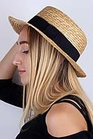 Соломенная шляпка женская, выполнена из золотистой соломки