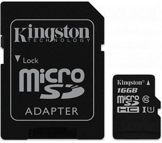 Карта памяти KINGSTON microSDHC 16Gb Canvas Select U1 (R80/W10)+ad