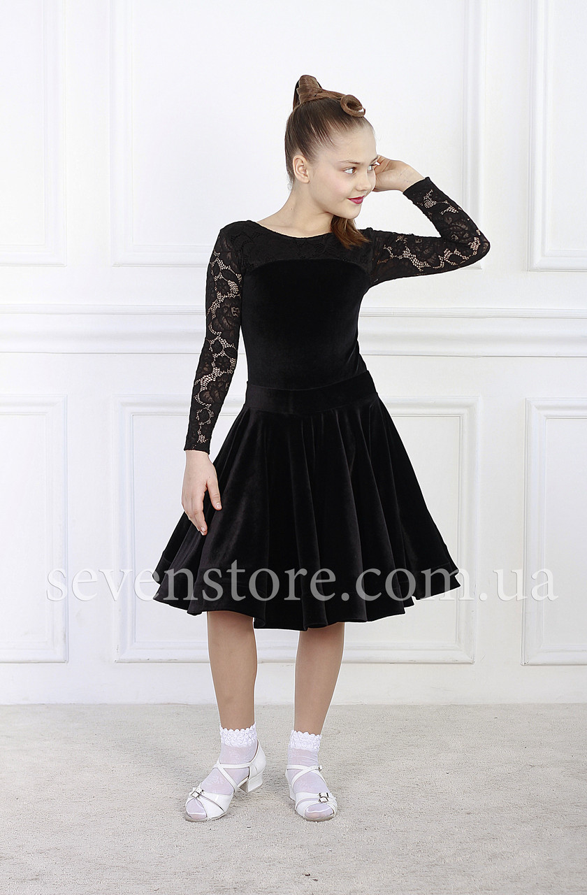 Рейтинговое платье Бейсик для бальных танцев Sevenstore 9141 Черный