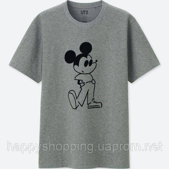 """Серая стильная  унисекс хлопковая футболка с принтом """"Mickey"""" Uniqlo"""