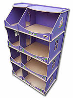 Кукольный домик-шкаф с росписью (сиреневый)