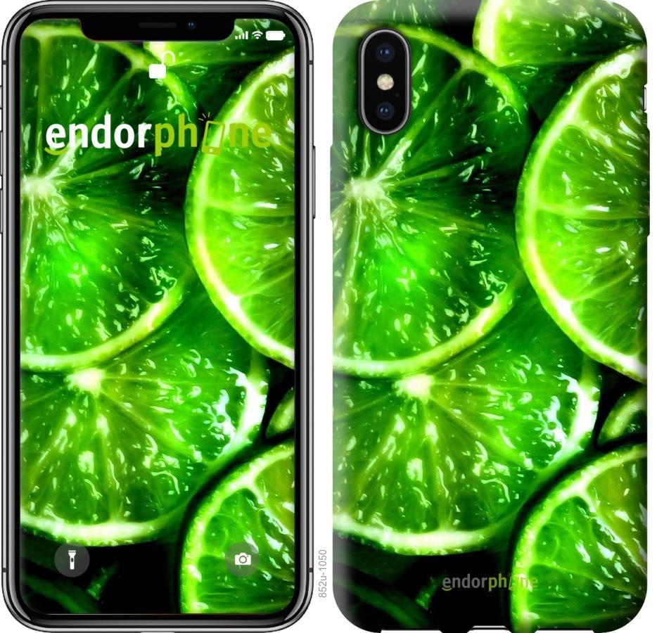Чехол на iPhone XS Зелёные дольки лимона