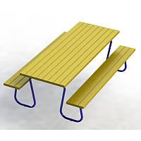 Стол со скамейками уличный 210см, фото 1