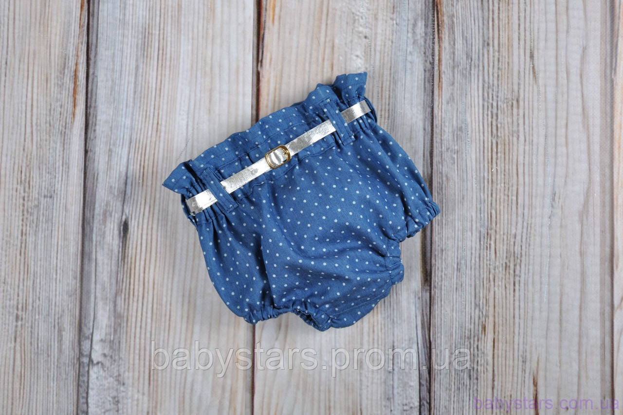 Шорты блумеры на памперс, голубой джинс 0-3 (62 размер)