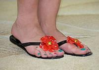 Сабо женские силикон черные цветок