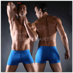 Плавки мужские купальные, трусы-боксеры для бассейна, пляжа (синие)