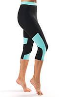 Женские спортивные бриджи с вставкой цвета мята