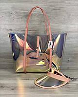 Большая пляжная сумка 56509 с клатчем и кепкой силиконовая перламутровая пудровые ручки, фото 1