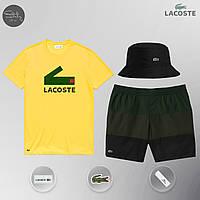 Футболка + Шорты + Панама в стиле Lacoste Yellow! Комплект летний мужской, фото 1