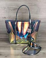 Пляжная сумка 56506 большая с клатчем и кепкой силиконовая перламутровая голубые ручки, фото 1