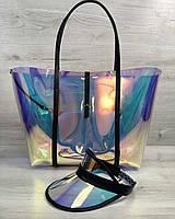 Пляжная сумка 56503 большая с клатчем и кепкой силиконовая перламутровая черные ручки, фото 1