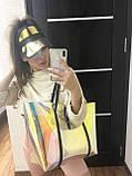 Пляжна сумка! Велика жіноча силіконова сумка з клатчем 56501 перламутрова напівпрозора на плече, фото 4