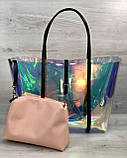 Пляжна сумка! Велика жіноча силіконова сумка з клатчем 56501 перламутрова напівпрозора на плече, фото 5
