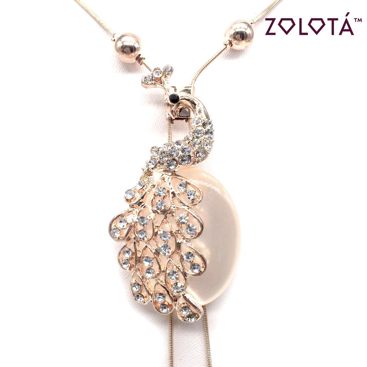 """Підвіска на ланцюжку з улекситом, перлами """"майорка"""" і білими фіанітами (куб. цирконієм) в позолоті, довжина регулюється, ЗЛ00377 (1)"""