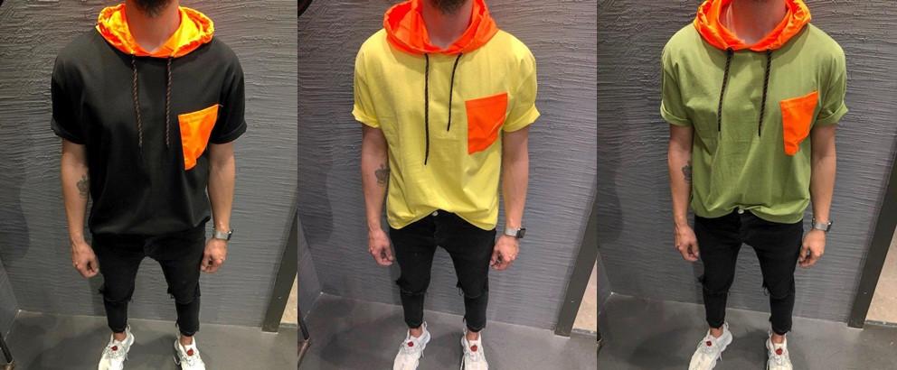 Футболка мужская с оранжевым капюшоном