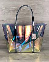 Пляжная сумка 56504 большая с клатчем силиконовая перламутровая голубые ручки, фото 1