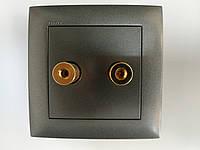 Розетка аудио Efapel Logus90 стерео металлик графитовый (21220 TIS)