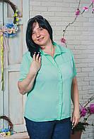 Блуза женская шифон больших размеров мята