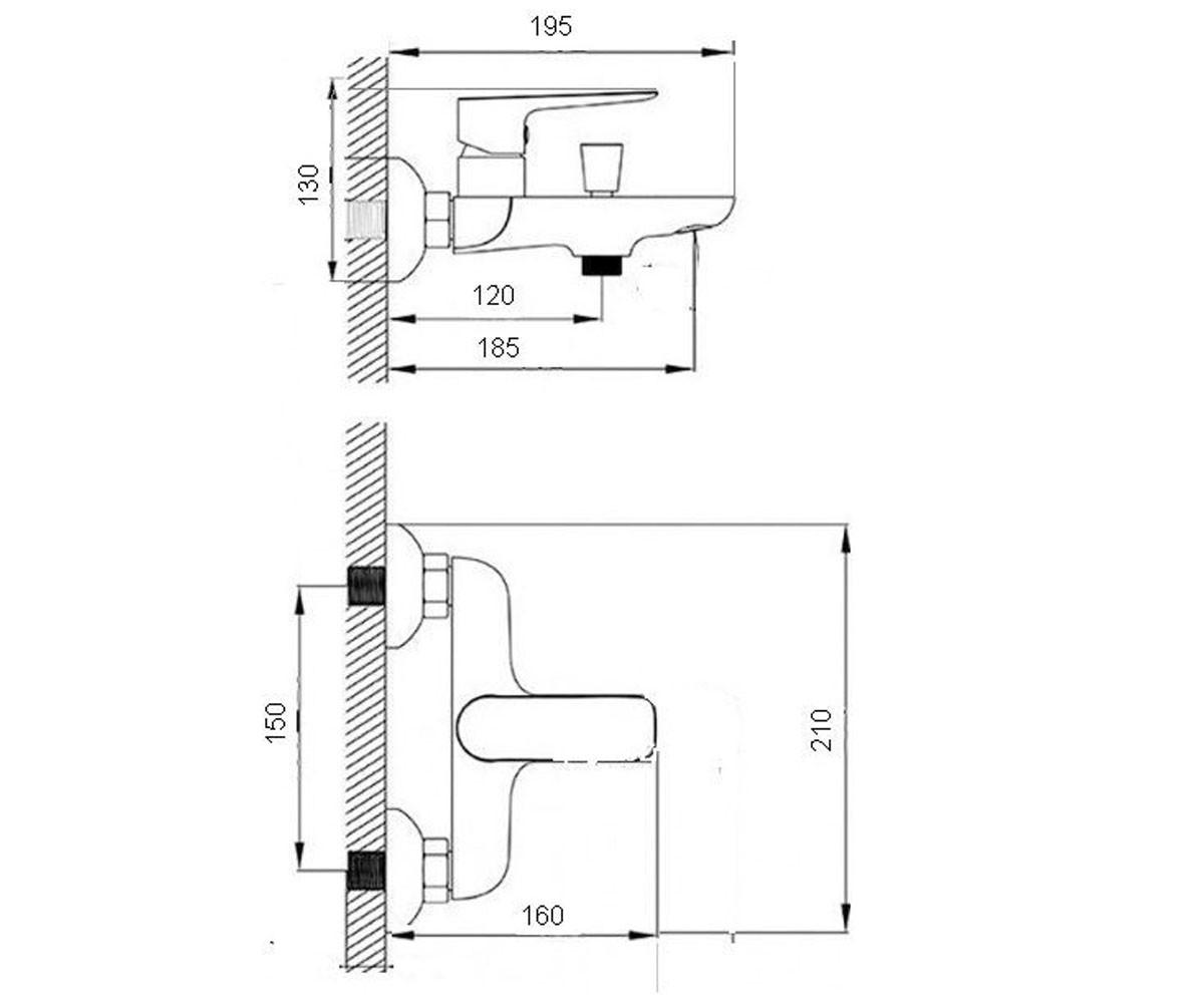Смеситель для ванны GLOBUS LUX SENA 2048-3 2