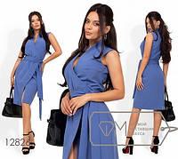 Платье-миди на запах со стояче-отложным воротником c 40 по 46 размер, фото 1