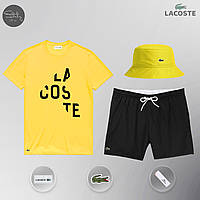 Футболка + Шорты + Панама в стиле Lacoste Yellow ! Комплект летний мужской, фото 1
