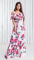 Длинное шёлковое женское платье под пояс с красивым декольте на бретелька с отделкой рюш 42-44, 46-48
